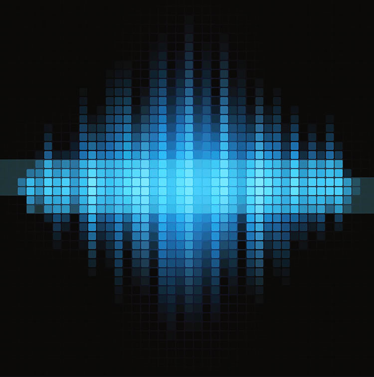 graphical representation of a sound wave in blue on a black background.