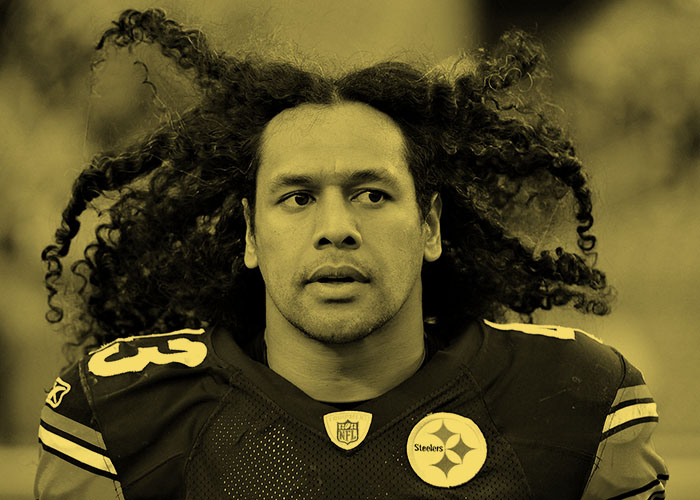 NFL Steeler Troy Polamalu with his long Samoan locks