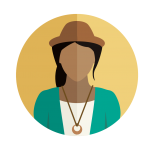 A woman in a hat wearing a necklace and blazer