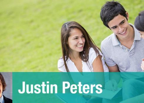 In the background, three seated college students interact in a field. Justin Peters headshot below.