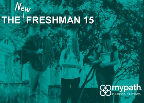 The New Freshman 15 - A man and two women walk through a wooded college campus