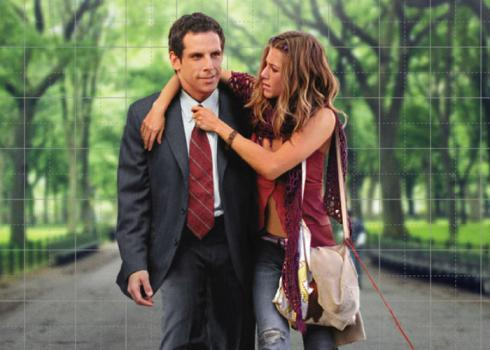 Bohemian Polly (Jennifer Anniston) loosens suited Reuben's (Ben Stiller) tie as they walk through a park. From Along Came Polly.
