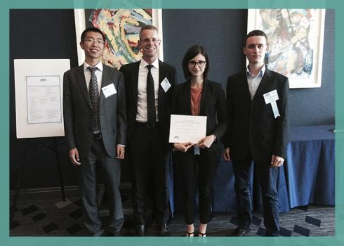 Photo of the Strickler Innovation awards winners after the award ceremony: Rui Jia, Martin Eling, Agnese Mineo and Mate Solymosi